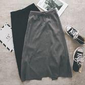 MUMU【P16844】後開岔腰部綁帶素面針織中長裙。兩色