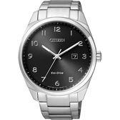 CITIZEN Eco Drive 光動能 簡約腕錶黑x 銀42mm BM7320 87E