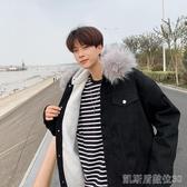 冬季毛領連帽棉衣男士韓版棉襖潮流寬鬆棉服加絨加厚牛仔外套凱斯盾