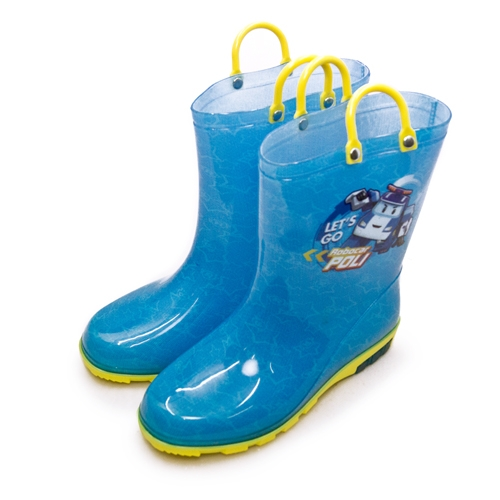 LIKA夢 POLI波力 16cm-21cm 兒童雨鞋 高筒雨靴 台灣製造 藍黃 01606