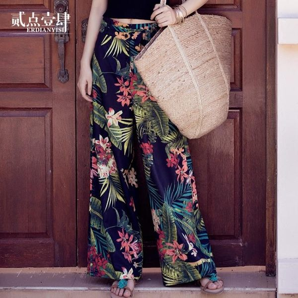 寬褲 泰國民族風海邊度假闊腳沙灘長褲子女夏波西米亞寬鬆高腰花闊腿褲  萊爾富免運