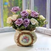 歐式復古模擬玫瑰花套裝室內客廳幹花束裝飾茶幾餐桌假花插花擺件 ATF 安妮塔小舖