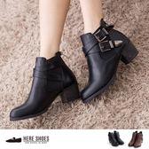 [Here Shoes]2色 41-44加大尺碼 嚴選韓版百搭學院復古木跟 側鬆緊交叉扣環 馬丁中粗跟短靴─KM788-12G
