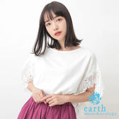 ❖ Summer ❖ 不規則蕾絲袖拼接素面上衣 - earth music&ecology