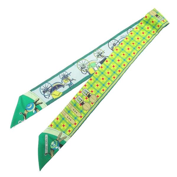 HERMES 愛馬仕 綠色方形斜紋馬車演變圖案絲巾 VOITURES NOUVELLES Twilly Scarf