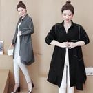 中長款襯衫M-5XL大碼寬版襯衣外套不規則拼接寬松襯衫裙F5025韓衣裳