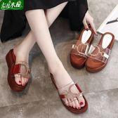 厚底透明一字拖鞋女夏季時尚外穿新款中跟鬆糕平底涼拖鞋女鞋 一米陽光