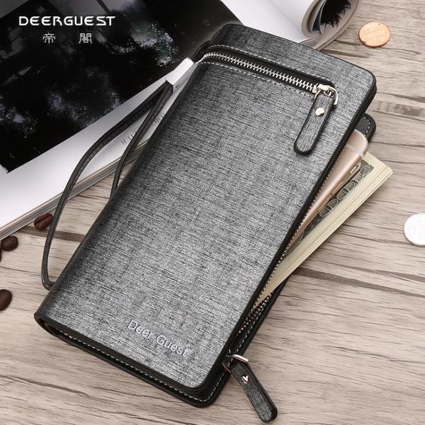 男士長款錢包多卡位手包韓版商務男款拉鏈軟皮手拿包手機包潮 依凡卡時尚