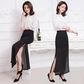 雪紡半身裙長裙夏季側開叉紗裙一步裙子中長款長版高腰黑色職業包臀裙