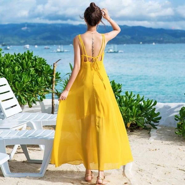新款巴厘島海邊度假顯瘦波西米亞長裙仙雪紡連身裙 洋裝31817#實拍(N707)皇潮天下