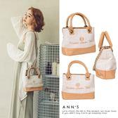 Ann'S自然風-帆布拼接皮革金屬鍊帶2way托特包-杏