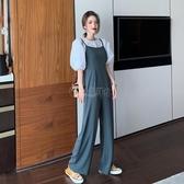 褲子 夏季套裝女2020新款韓版高腰闊腿吊帶褲泡泡袖上衣氣質時尚兩件套 小城驛站