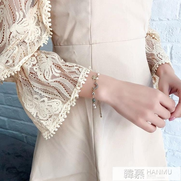 閨蜜手錬女學生簡約ins小眾設計冷淡風水晶珍珠韓版個性網紅手飾 韓慕精品