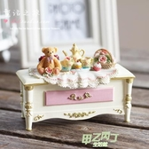 歐式復古公主家居飾品盒收納盒樹脂工藝品韓版可愛小熊 首飾盒 【快速出貨】