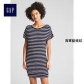 Gap女裝 蝙蝠袖鏤空后背T恤式短袖洋裝女 297931-海軍藍條紋
