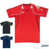 ASICS 亞瑟士 排球練習T恤  (紅)  吸汗快乾  彈性伸縮 合身版