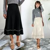小C好康推薦免運秋冬季新品針織半身洋裝女中長版高腰A字裙撞色荷葉邊毛線裙