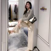 出清388 韓國風寬鬆條紋針織寬口褲套裝長袖褲裝