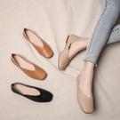 淺口豆豆鞋女夏季軟皮奶奶鞋復古平底方頭單鞋女春秋【慢客生活】
