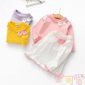 女童長袖打底衫兒童木耳邊上衣可愛寶寶兔耳朵T恤【聚可愛】