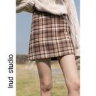 LRUD毛呢半身裙女冬天配毛衣2020冬季新款韓版格子短裙高腰包臀裙【快速出貨】