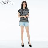 Victoria 純棉淺藍丹寧單捲口短褲-女V55195