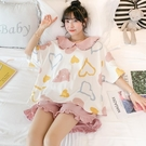睡衣 涼感睡衣女夏季純棉短袖薄款兩件套裝年新款網紅爆款春秋天家居服