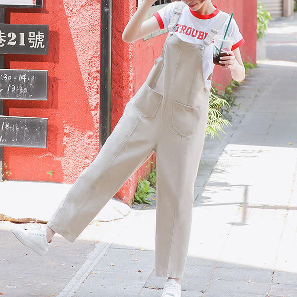 IN'SHOP小男孩風雙口袋洗水吊帶褲-2色【KT23392】