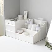 簡約純色抽屜式化妝品收納盒 大號塑料宿舍梳妝台 學生桌面儲物盒YTL·皇者榮耀3C