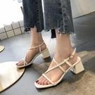 粗跟涼鞋 韓版細帶ins2020夏季新款性感粗跟羅馬涼鞋女