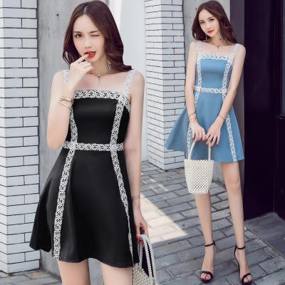 洋裝! 0877水溶蕾絲撞色氣質收身顯瘦連身裙GT2F-233-A依佳衣