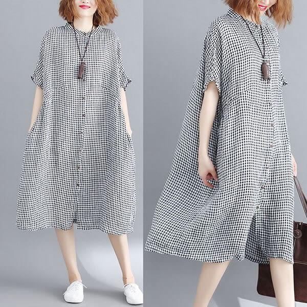 棉麻 日系格紋開襟飄逸感洋裝-大尺碼 獨具衣格