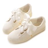 amai甜美緞帶蝴蝶結厚底休閒鞋 白