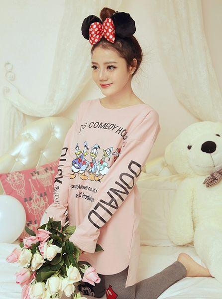 純棉休閒簡約睡衣套裝 可外穿運動純色家居服女套裝 -wow0039