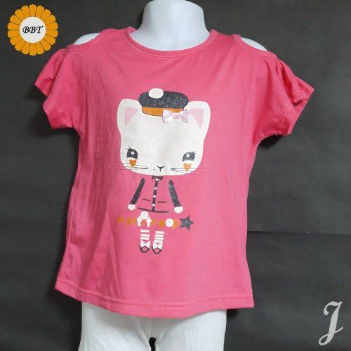 ☆棒棒糖童裝☆夏女童貓咪挖肩款上衣 長版衣 尺碼5-15