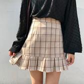 春夏女裝韓版學院風高腰顯瘦荷葉邊復古格子半身裙百褶裙短裙學生