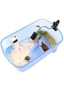 烏龜缸帶排水孔水陸缸帶曬台巴西龜缸烏龜箱造景別墅小型大型家用 城市科技DF