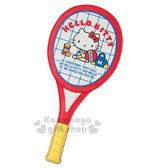 〔小禮堂〕Hello Kitty球拍造型皮革票卡夾《紅白》證件夾.車票夾.復古網球系列 4901610-38302