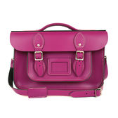 【The Leather Satchel Co.】12.5吋 英國手工牛皮劍橋包 手提包 肩背 側背包  新款磁釦設計(紅莓紫)