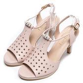DIANA-華麗星光--透氣洞洞孔時髦水鑽羅馬涼跟鞋-裸★特價商品恕不能換貨★