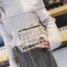晚宴包 ins包包女 新款果凍包珍珠透明百搭斜背晚宴包斜背包鍊條小包 雙11