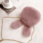 毛絨包包女新款冬可愛萌兔子單肩斜挎手提百搭韓版毛毛鏈條包