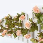 仿真玫瑰花藤條假花藤室內空調管遮擋塑料花藤條吊頂植物裝飾花藤
