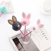 【BlueCat】毛絨小愛心透明筆管仿皮革兔耳朵中性筆