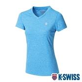 K-SWISS Heather V Neck Tee涼感排汗V領T恤-女-寶藍