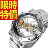 機械錶-陀飛輪鏤空熱銷復古男腕錶2色54t32【時尚巴黎】