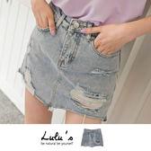 LULUS-S割破刷舊牛仔褲裙S-L-藍  現+預【04070207】