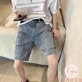 破洞牛仔褲男百搭夏季薄款寬松百搭五分短褲【大碼百分百】