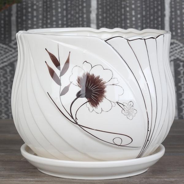陶瓷花盆帶托盤塑料多肉室內家用吊蘭綠蘿盆