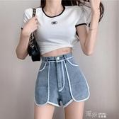 短褲 設計感韓版個性寬鬆寬管短褲女高腰顯瘦百搭牛仔單寧短褲  【快速出貨】